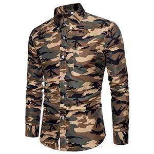 Camisa denim de hombres con estampado de camuflaje   Mode de